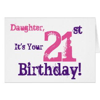 21ro saludo del cumpleaños de la hija en la tarjeta