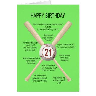 21ros chistes del béisbol del cumpleaños tarjeta de felicitación