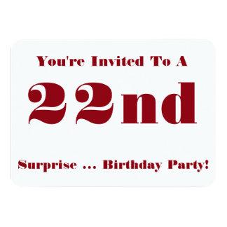 22do La fiesta de cumpleaños de la sorpresa Invitación 11,4 X 15,8 Cm
