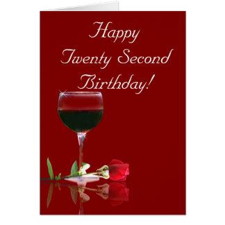 22do vino feliz del cumpleaños y tarjeta color de