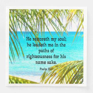 23:3 del salmo, escritura: Él restoreth mi alma-- Servilletas Desechables