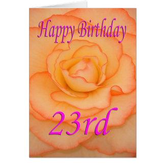 23ro flor feliz del cumpleaños tarjeta de felicitación