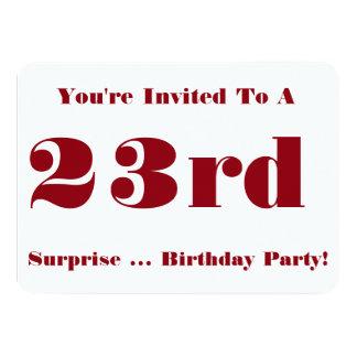 23ro La fiesta de cumpleaños de la sorpresa Invitación 11,4 X 15,8 Cm