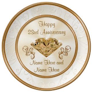 23ro regalo personalizado del aniversario o plato de porcelana