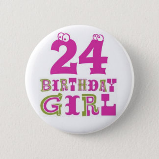 24to Insignia del botón del chica del cumpleaños