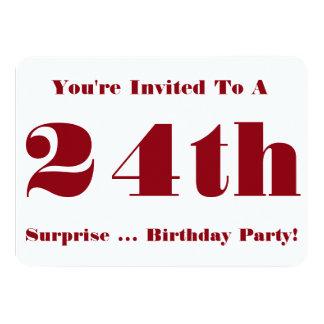 24to La fiesta de cumpleaños de la sorpresa Invitación 11,4 X 15,8 Cm