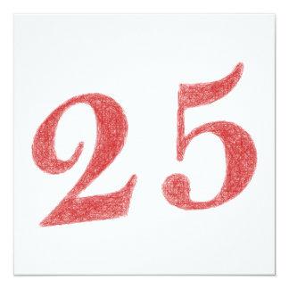 25 años de aniversario invitación 13,3 cm x 13,3cm