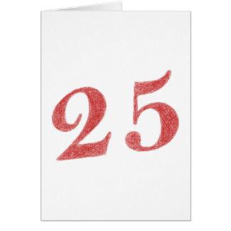 25 años de aniversario tarjeta pequeña