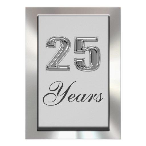 25 años de invitación de plata del aniversario
