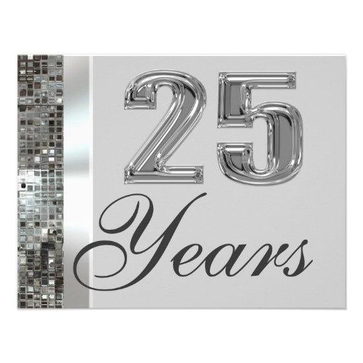 25 años de invitación elegante del aniversario de