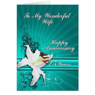 25 años de tarjeta del aniversario para una esposa