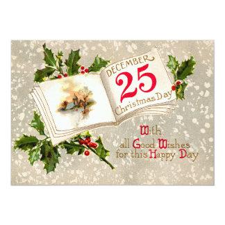 25 de diciembre nieve del acebo de la iglesia invitación 12,7 x 17,8 cm