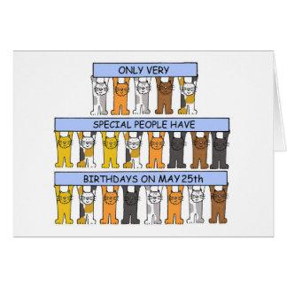 25 de mayo gatos del cumpleaños tarjeta de felicitación