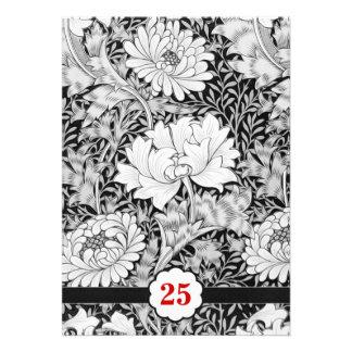 25 invitaciones blancos y negros del aniversario d