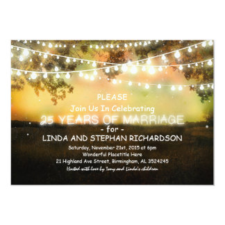 25 invitaciones del aniversario de boda - luces de invitación 12,7 x 17,8 cm