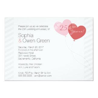 25ta fiesta de aniversario de la bodas de plata de invitación 12,7 x 17,8 cm