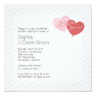 25ta fiesta de aniversario de la bodas de plata de invitación 13,3 cm x 13,3cm