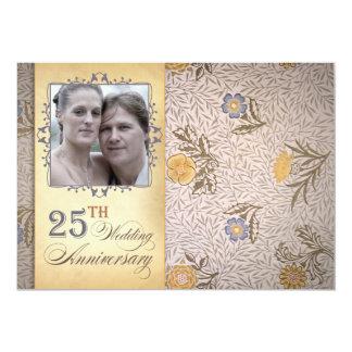 25ta foto del aniversario de boda invitación 12,7 x 17,8 cm