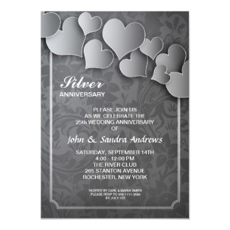 25ta invitación del aniversario de bodas de plata invitación 12,7 x 17,8 cm