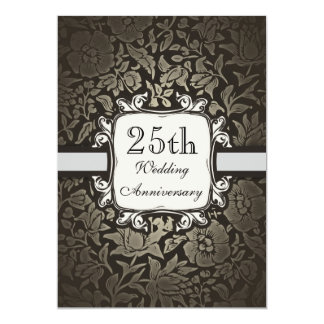 25ta invitación del damasco del vintage del