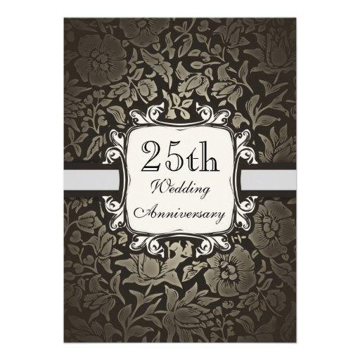 25ta invitación del damasco del vintage del aniver
