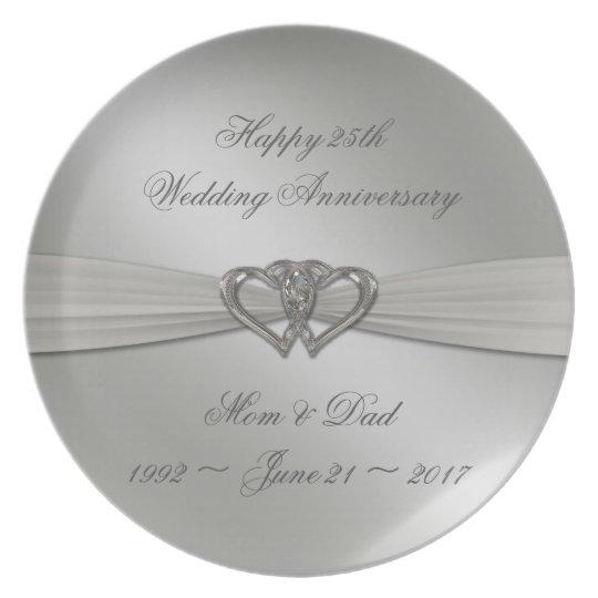 25ta placa del aniversario de boda de la plata plato