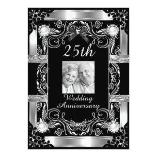 25ta plata del aniversario de boda de la foto invitación 12,7 x 17,8 cm