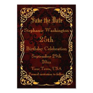 25ta reserva enmarcada oro gótico del cumpleaños invitación 8,9 x 12,7 cm