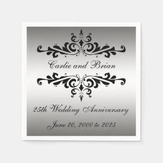 25ta servilleta de papel del aniversario de boda d