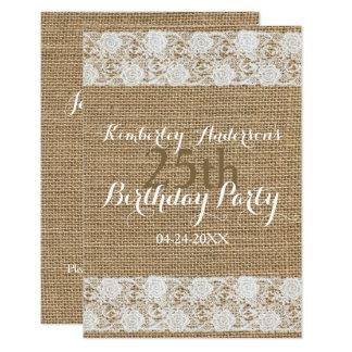 25ta tarjeta plana de la fiesta de cumpleaños de invitación 8,9 x 12,7 cm