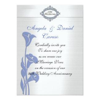 Tarjeta 25tas calas del azul de la invitación del