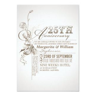 25tas invitaciones del aniversario de la invitación 12,7 x 17,8 cm