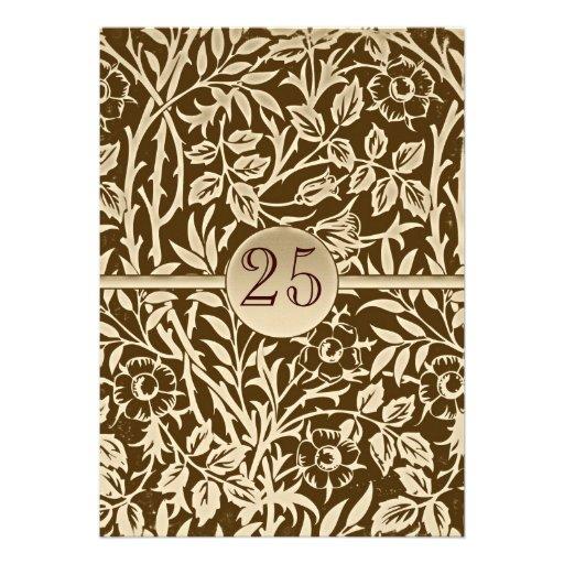 25tas invitaciones del marrón del vintage del aniv invitaciones personalizada