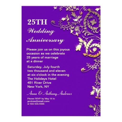 25tas invitaciones elegantes púrpuras del aniversa comunicado