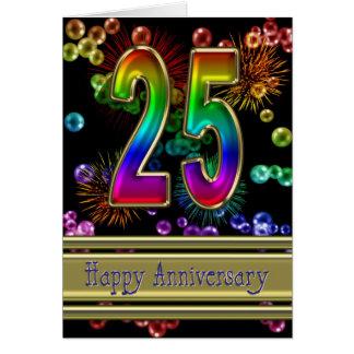 25to aniversario con los fuegos artificiales y las tarjeta de felicitación