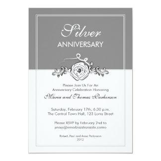 25to aniversario de boda color de rosa de plata invitación 12,7 x 17,8 cm