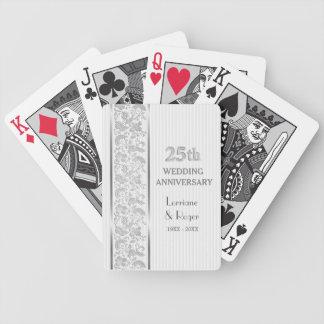25to aniversario de boda de la elegancia floral de baraja de cartas bicycle