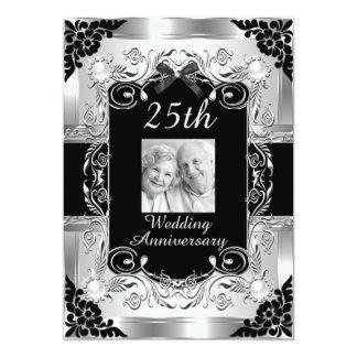 25to aniversario de boda de la foto de plata invitación 12,7 x 17,8 cm