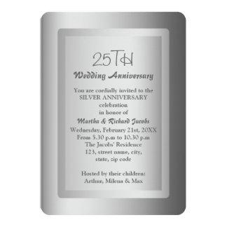 25to aniversario de boda de la frontera de plata invitación 12,7 x 17,8 cm