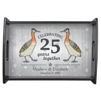 25to aniversario de boda de la plata de encargo bandejas