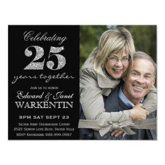 25to aniversario de boda de la plata elegante de invitación 10,8 x 13,9 cm