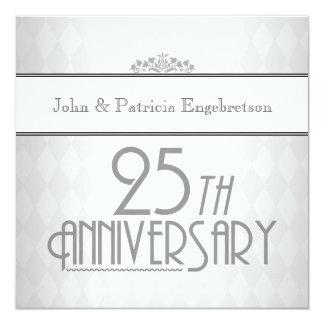 25to aniversario de boda de la plata sofisticada invitación 13,3 cm x 13,3cm