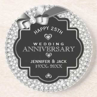25to aniversario de boda de los diamantes negros y portavasos