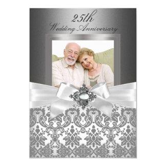 25to aniversario de boda de plata del arco y del invitación 12,7 x 17,8 cm