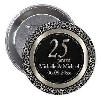 25to Aniversario de boda de plata del leopardo Chapa Redonda De 7 Cm