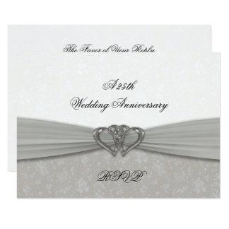 25to aniversario de boda del damasco RSVP Invitación 8,9 X 12,7 Cm