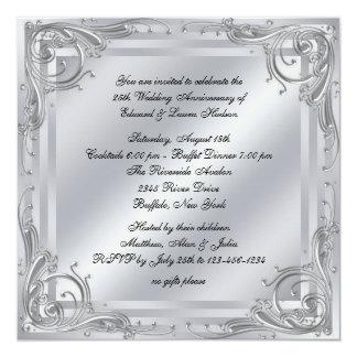 25to aniversario de boda del remolino de plata invitación 13,3 cm x 13,3cm