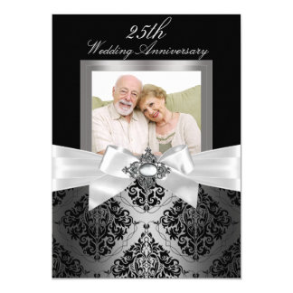 25to aniversario de boda negro de plata del arco y invitación 12,7 x 17,8 cm