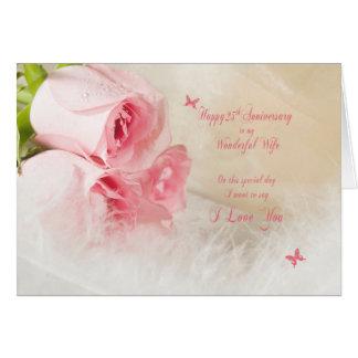25to Aniversario de boda para la esposa con los Tarjeta