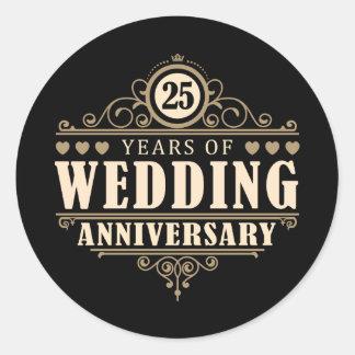 25to Aniversario de boda Pegatina Redonda